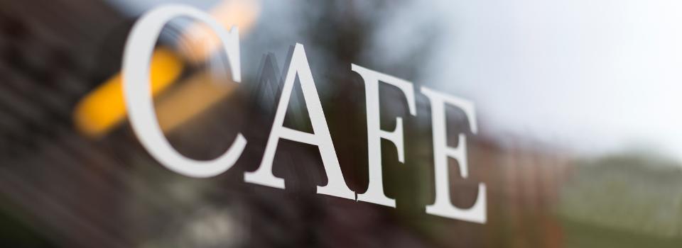 Close up of a cafe sign